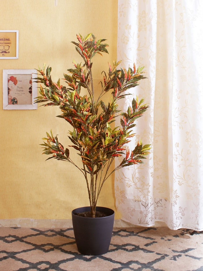 Artificial Croton Floor Plant Without Pot (150 cm tall, Multicolor, 10 Branches)
