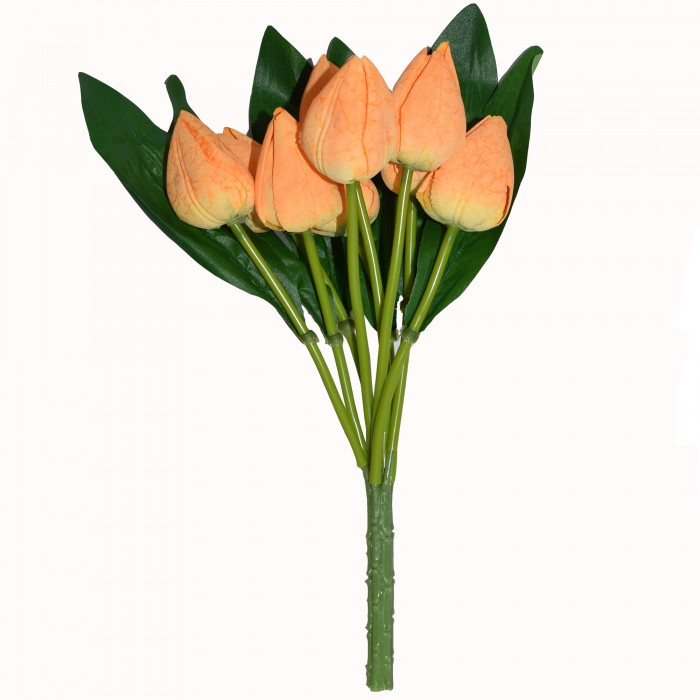 Buy Artificial Tulip Flower Bunches (38 Cm Tall, 9 Flower, White) Online