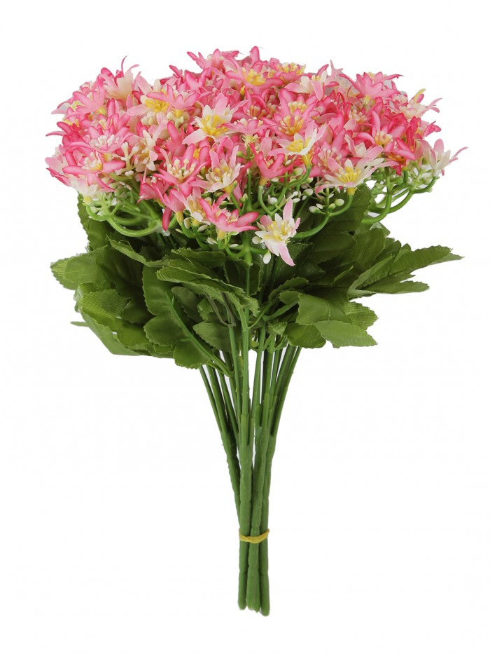 Artificial Mini Orchid Flower Bunches (30 cm Tall, 5 branches, Pink, Set of 5)