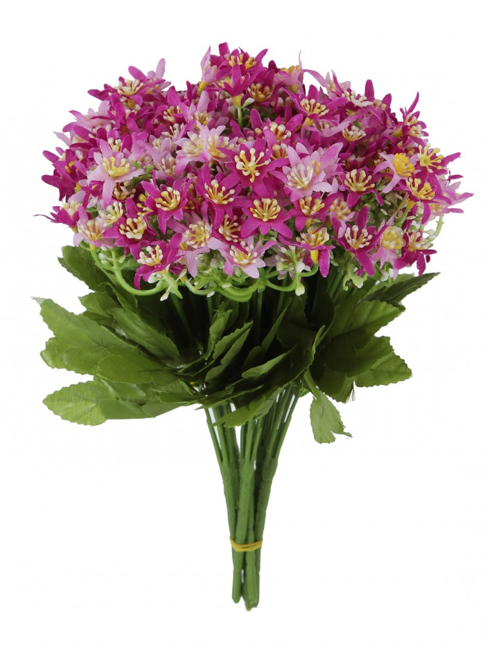 Artificial Mini Orchid Flower Bunches (30 cm Tall, 5 branches, Purple, Set of 5)