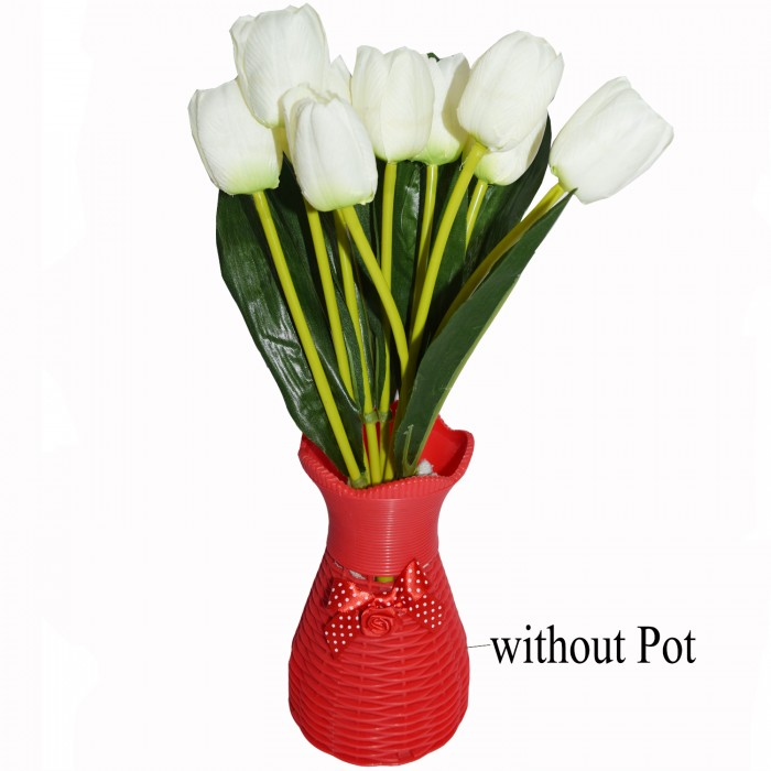 Buy Beautiful Artificial Tulip Flower Bunch For Home Décor (38 Cm Tall, 9 Heads, White/Green) Onlin