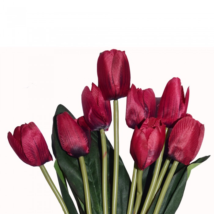Buy Beautiful Artificial Tulip Flower Bunch For Home Décor (38 Cm Tall, 9 Heads, Maroon) Online