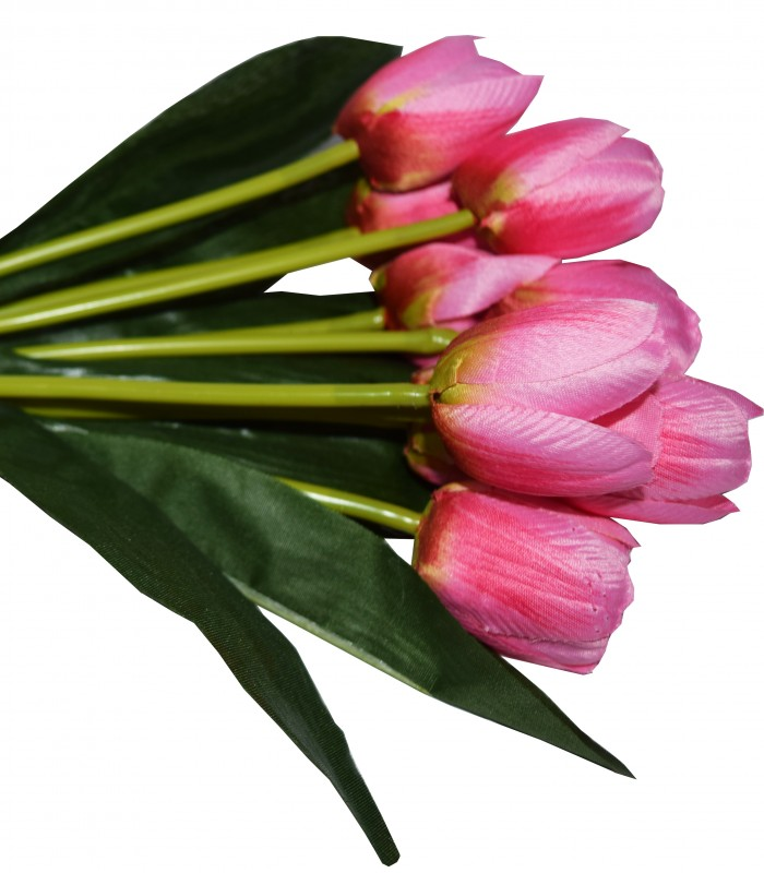 Buy Beautiful Artificial Tulip Flower Bunch For Home Décor (38 Cm Tall, 9 Heads, Light/Pink) Online