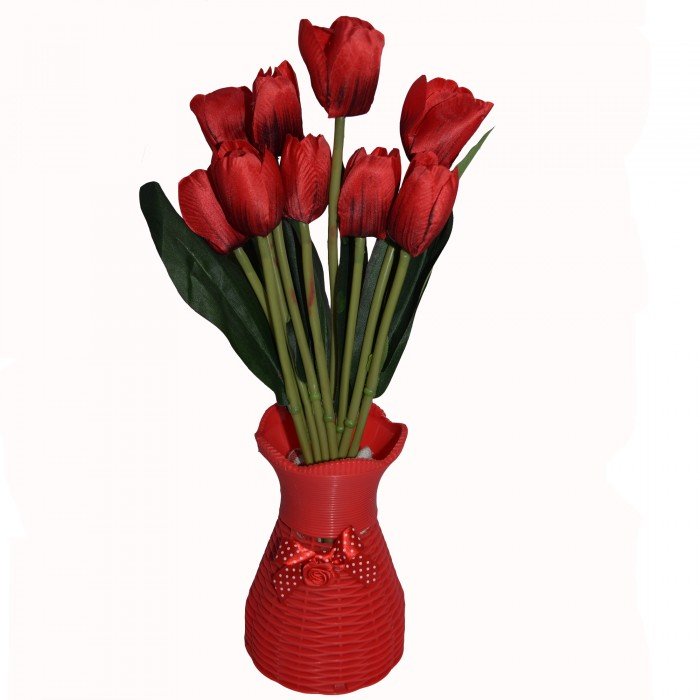 Buy Beautiful Artificial Tulip Flower Bunch For Home Décor (38 Cm Tall, 9 Heads, Red) Online