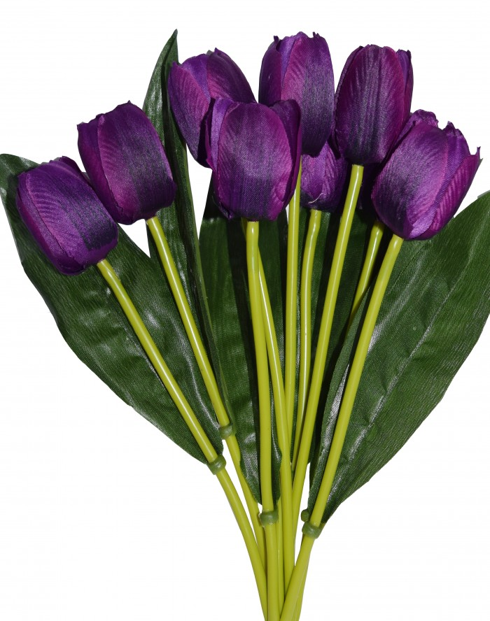 Buy Beautiful Artificial Tulip Flower Bunch For Home Décor (38 Cm Tall, 9 Heads, Dark/Purple) Onlin