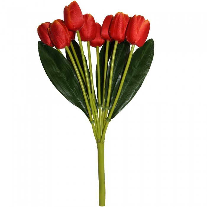 Buy Beautiful Artificial Tulip Flower Bunch For Home Décor (38 Cm Tall, 9 Heads, Orange) Online