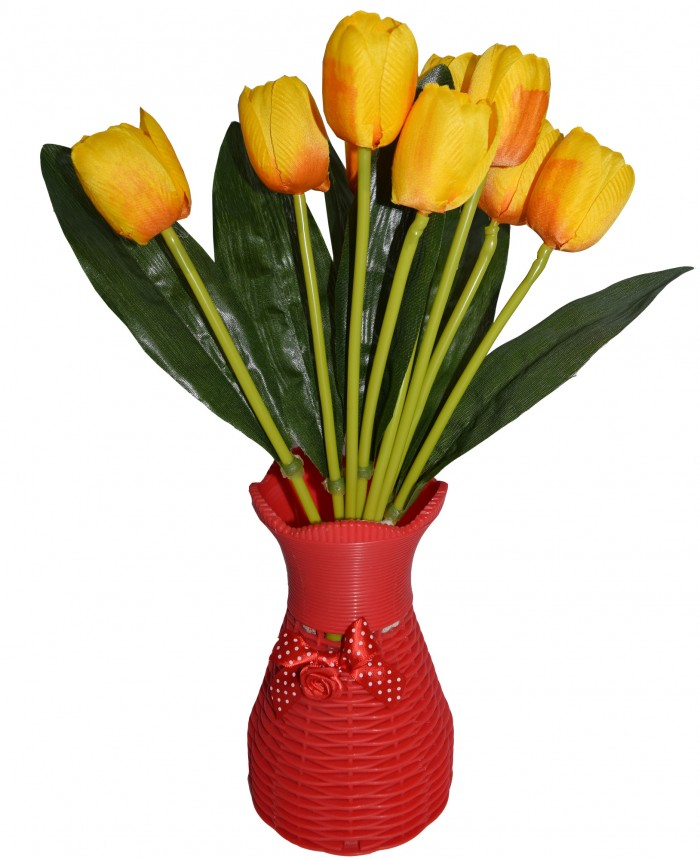 Buy Beautiful Artificial Tulip Flower Bunch For Home Décor (38 Cm Tall, 9 Heads, Yellow) Online
