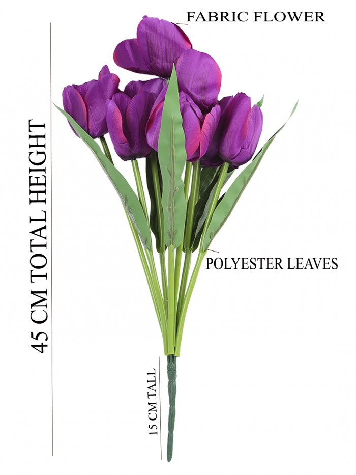 Buy Beautiful Artificial Tulip Flower Bunch For Home Décor (45 Cm Tall, 9 Heads, Purple) Online
