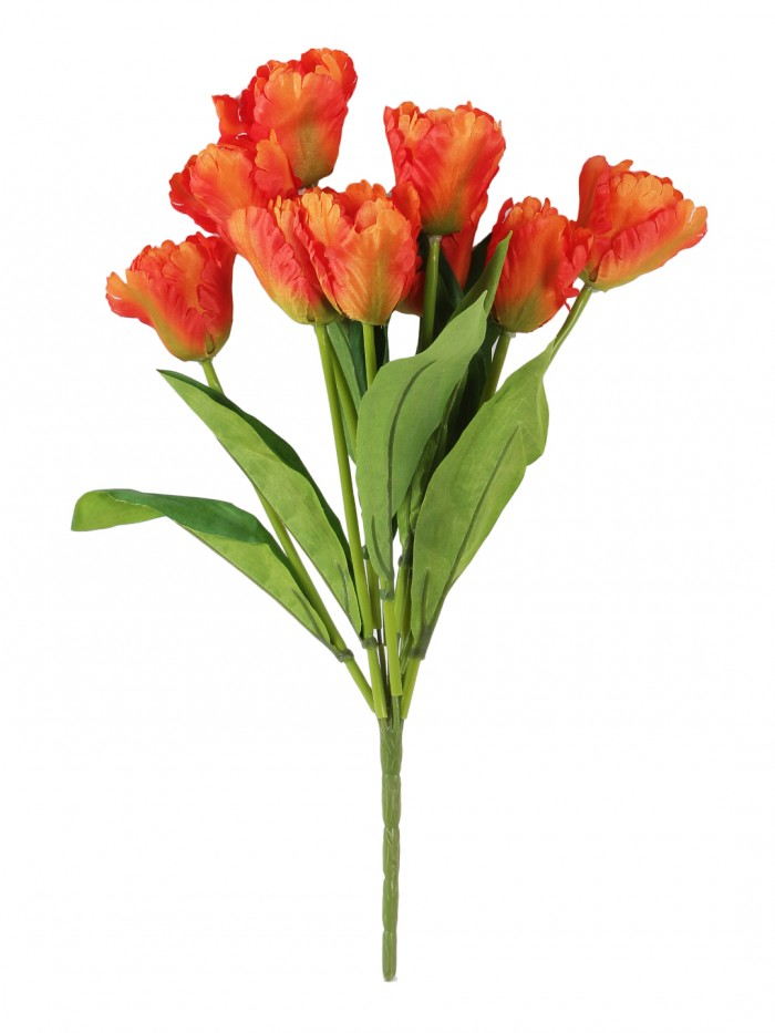 Buy Beautiful Artificial Tulip Flower Bunch For Home Décor (45 Cm Tall, 9 Heads, Orange) Online