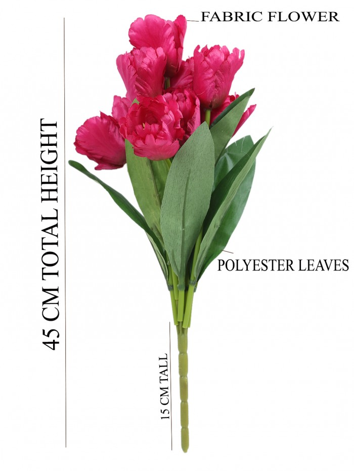 Buy Beautiful Artificial Tulip Flower Bunch For Home Décor (45 Cm Tall, 9 Heads, Dark/Pink) Online