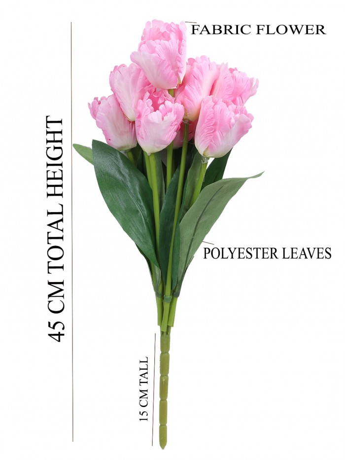 Buy Beautiful Artificial Tulip Flower Bunch For Home Décor (45 Cm Tall, 9 Heads, Light/Pink) Online