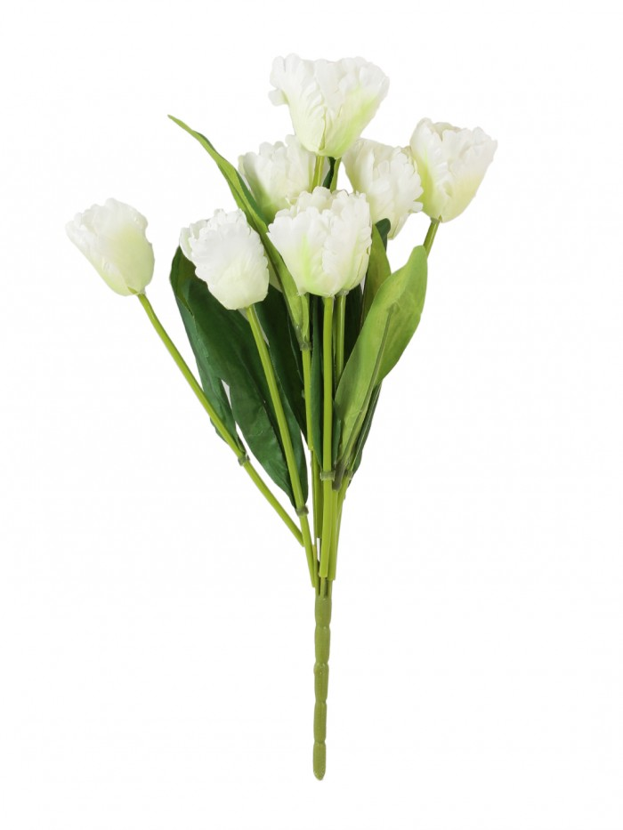 Buy Beautiful Artificial Tulip Flower Bunch For Home Décor (45 Cm Tall, 9 Heads, White) Online