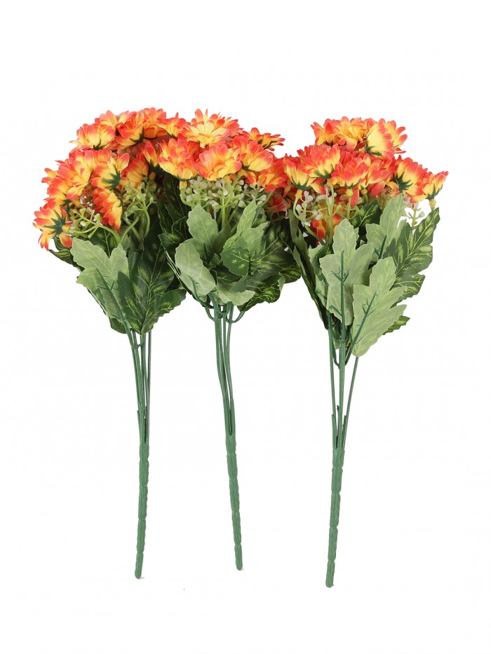 Buy Beautiful Artificial Daisy Flower Bunch For Home Décor (38 Cm Tall, 25 Heads, Set Of 3, Orange)