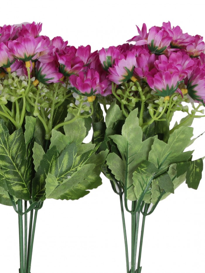 Buy Beautiful Artificial Daisy Flower Bunch For Home Décor (38 Cm Tall, 25 Heads, Set Of 3, Purple)