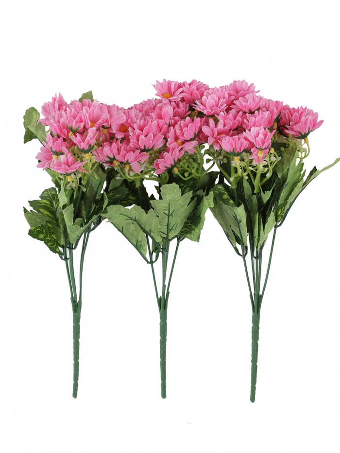 Buy Beautiful Artificial Daisy Flower Bunch For Home Décor (38 Cm Tall, 25 Heads, Set Of 3, Pink) O