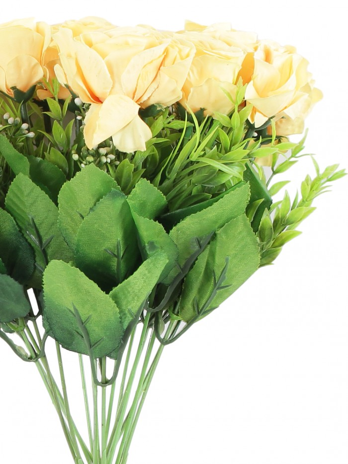 Buy Beautiful Artificial Rose Flower Bunch For Home Décor (40 Cm Tall, 18 Heads, Yellow) Online