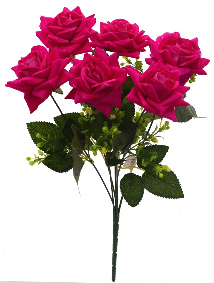 Buy Fourwalls Artificial Velvet Rose Bouquet (40 Cm, Dark Pink, 7 Branches) Online