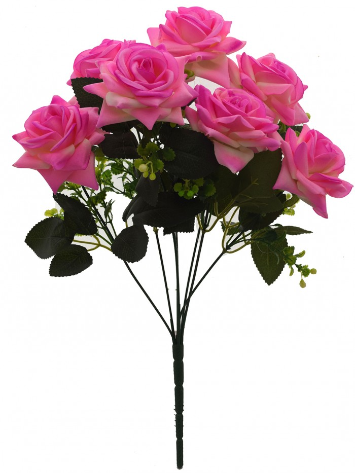 Buy Fourwalls Artificial Velvet Rose Bouquet (40 Cm, Light Pink, 7 Branches) Online