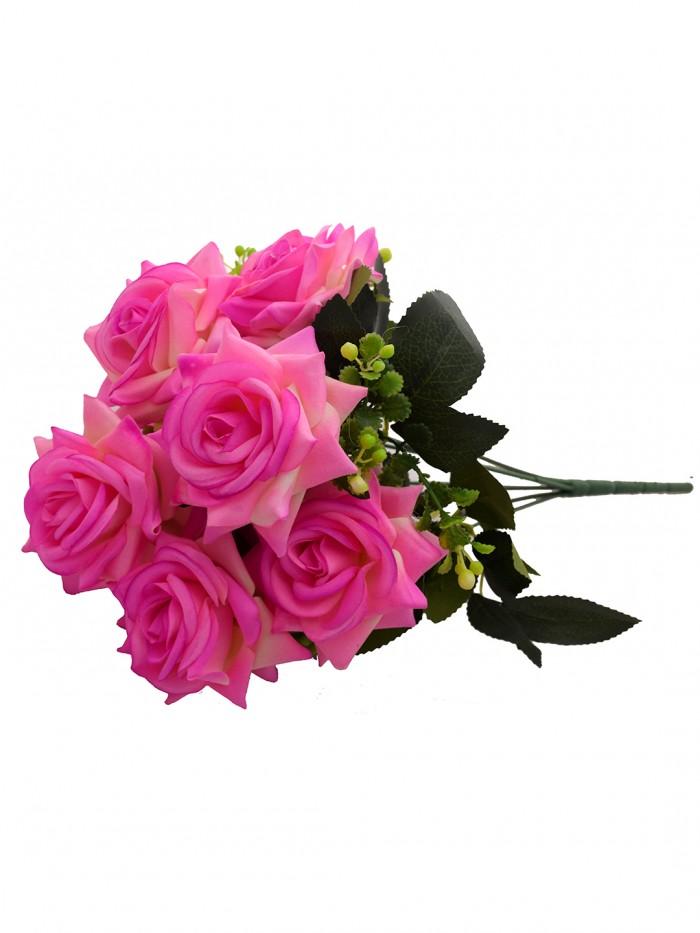 Buy Fourwalls Artificial Velvet Rose Bouquet (40 Cm, Light Pink, 7 Branches) Online