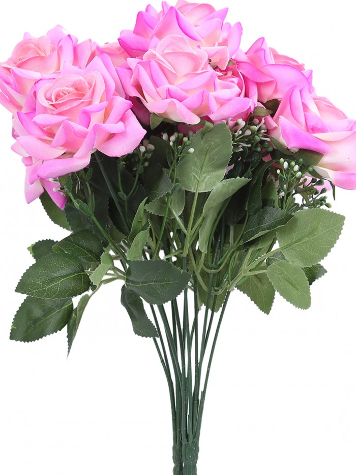 Buy Large Blooming Artificial Velvet Rose Bouquet (45 Cm, Light/Pink, 7 Branches, Set Of 2) Online