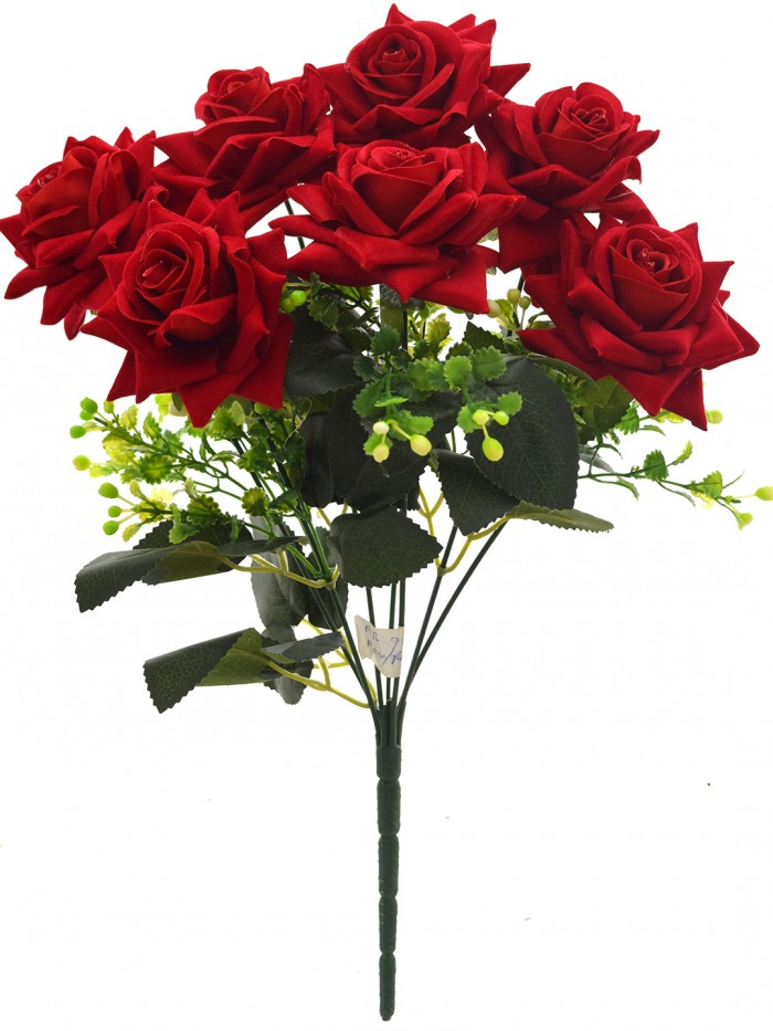 Buy Fourwalls Artificial Velvet Rose Bouquet (40 Cm, Red, 7 Branches) Online
