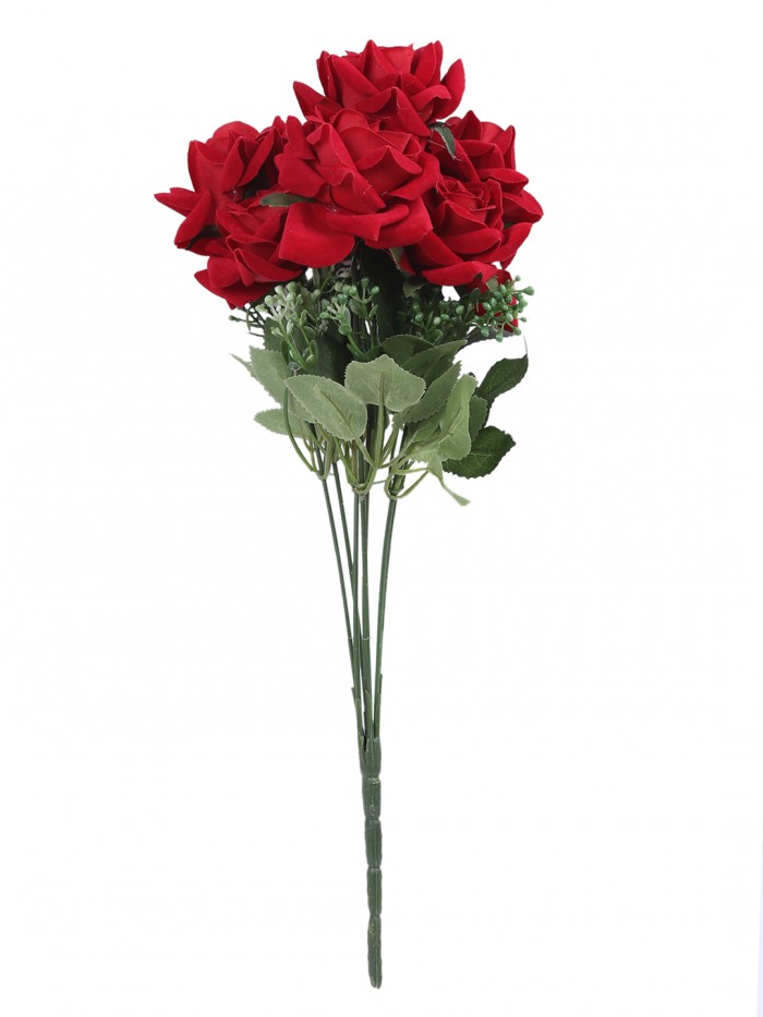 Buy Large Blooming Artificial Velvet Rose Bouquet (45 Cm, Red, 7 Branches, Set Of 2) Online