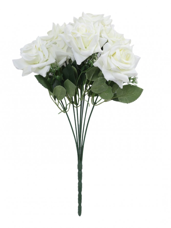 Buy Fourwalls Artificial Velvet Rose Bouquet (40 Cm, White, 7 Branches) Online