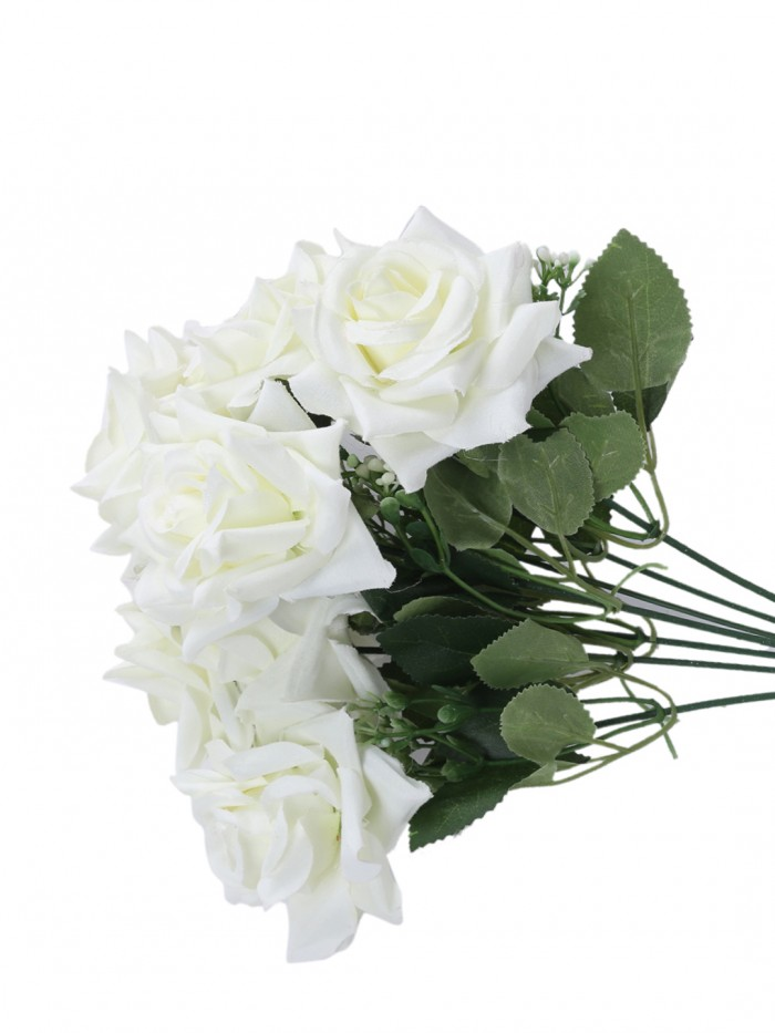 Buy Large Blooming Artificial Velvet Rose Bouquet (45 Cm, White, 7 Branches, Set Of 2) Online