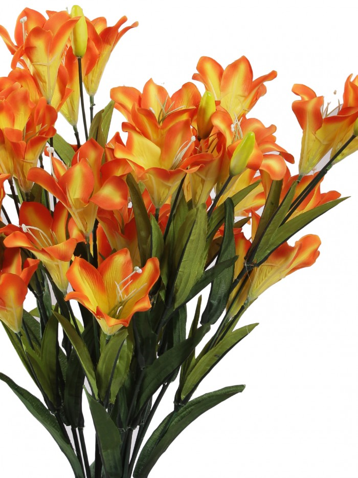 Buy Artificial Decorative Lily Flower Bunches (21 Flowers, Set Of 2, Orange) Online