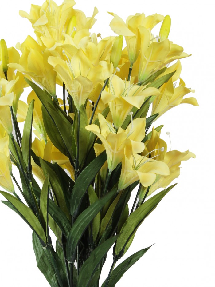 Buy Artificial Decorative Lily Flower Bunches (21 Flowers, Set Of 2, Yellow) Online