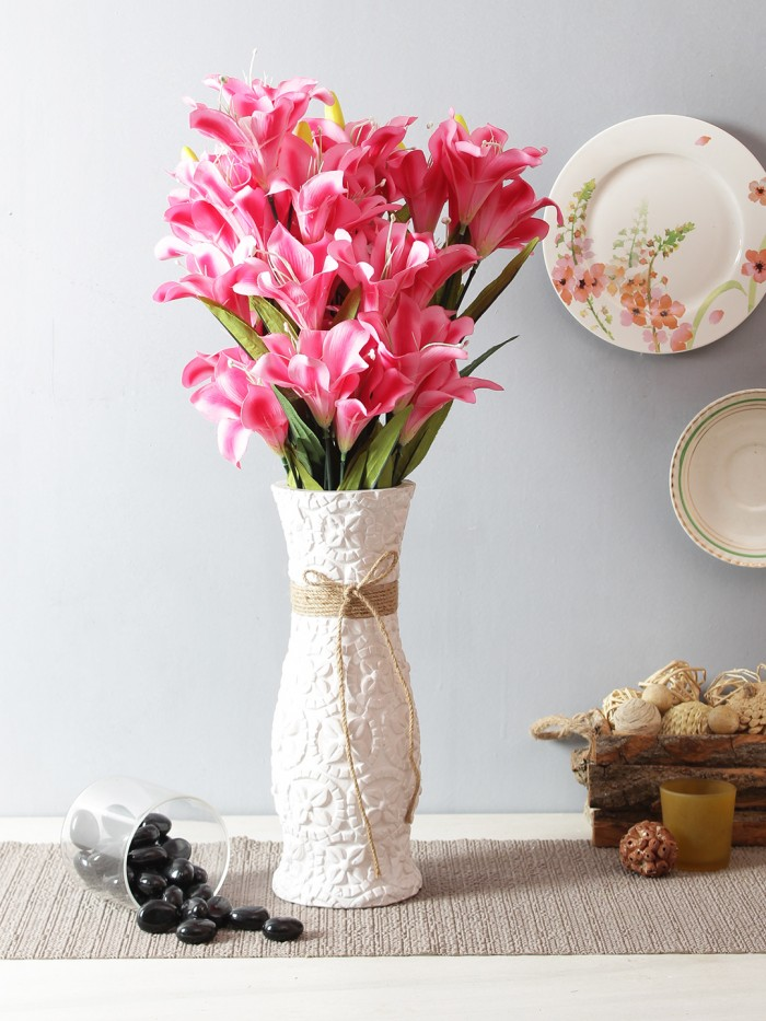 Buy Artificial Decorative Lily Flower Bunches (21 Flower, 60 Cm Tall, Set Of 2, Dark/Pink) Online