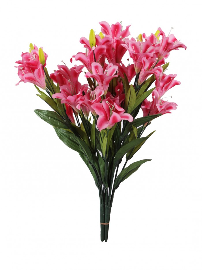 Buy Fourwalls Synthetic Lily Flower Bunch (21 Flowers, Set Of 2, Pink) Online
