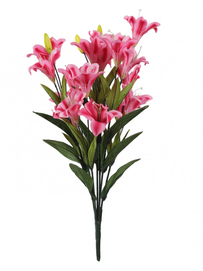 Buy Artificial Decorative Lily Flower Bunches (21 Flowers, Set Of 2, Dark/Pink) Online