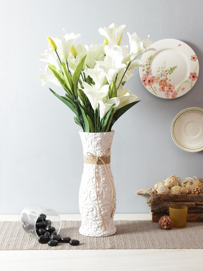 Buy Artificial Decorative Lily Flower Bunches (21 Flower, 60 Cm Tall, Set Of 2, White) Online