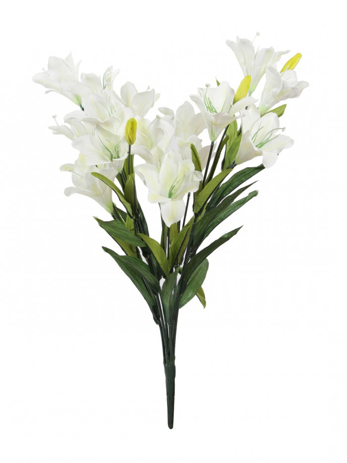 Buy Artificial Decorative Lily Flower Bunches (21 Flowers, Set Of 2, White) Online