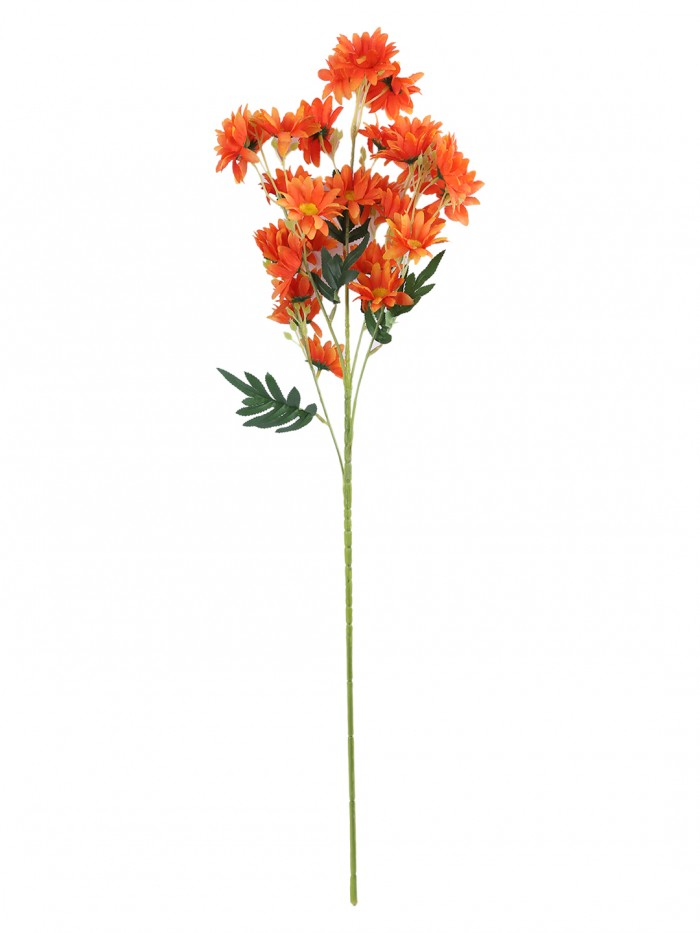 Buy Artificial Daisy Flower Stems (80 Cm Tall, 5 Branches, Orange, Set Of 2) Online
