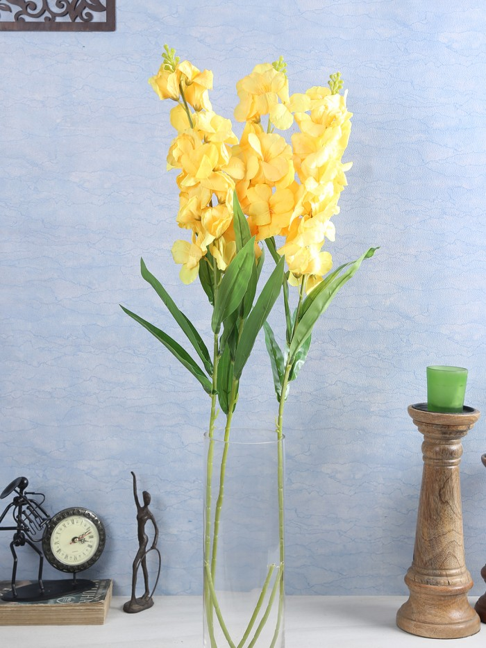 Buy Artificial Gorgeous Jasmine Flower Sticks (90 Cm Tall, Yellow, Set Of 4) Online