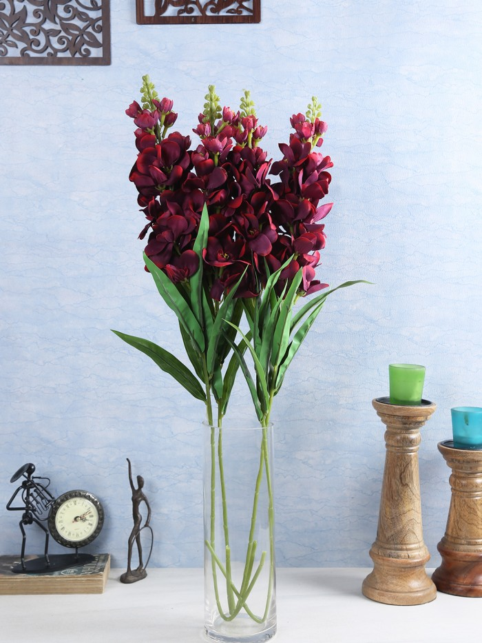 Buy Artificial Gorgeous Jasmine Flower Sticks (90 Cm Tall, Maroon, Set Of 4) Online
