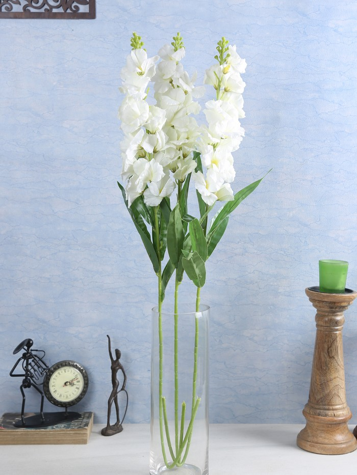 Buy Artificial Gorgeous Jasmine Flower Sticks (90 Cm Tall, White, Set Of 4) Online