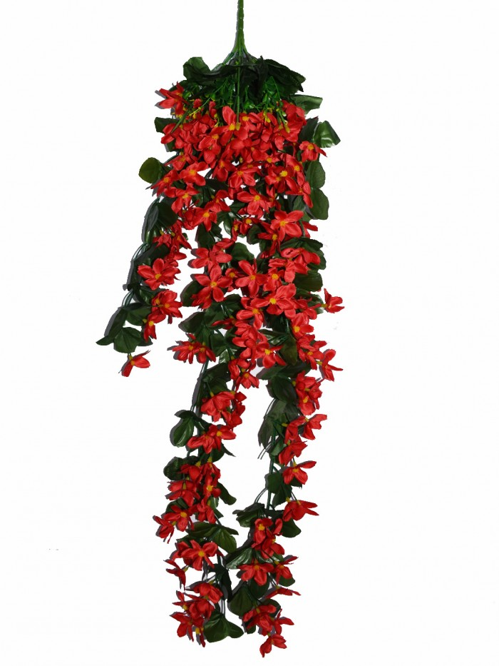 Buy Decorative Artificial Hanging Butterfly Orchid Flower Bush(100 Cm Long, Red) Online