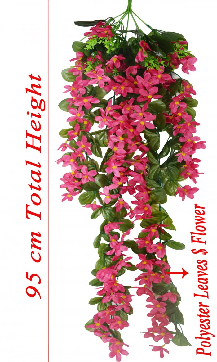 Buy Decorative Artificial Hanging Butterfly Orchid Flower Bush(100 Cm Long, Dark/Pink) Online