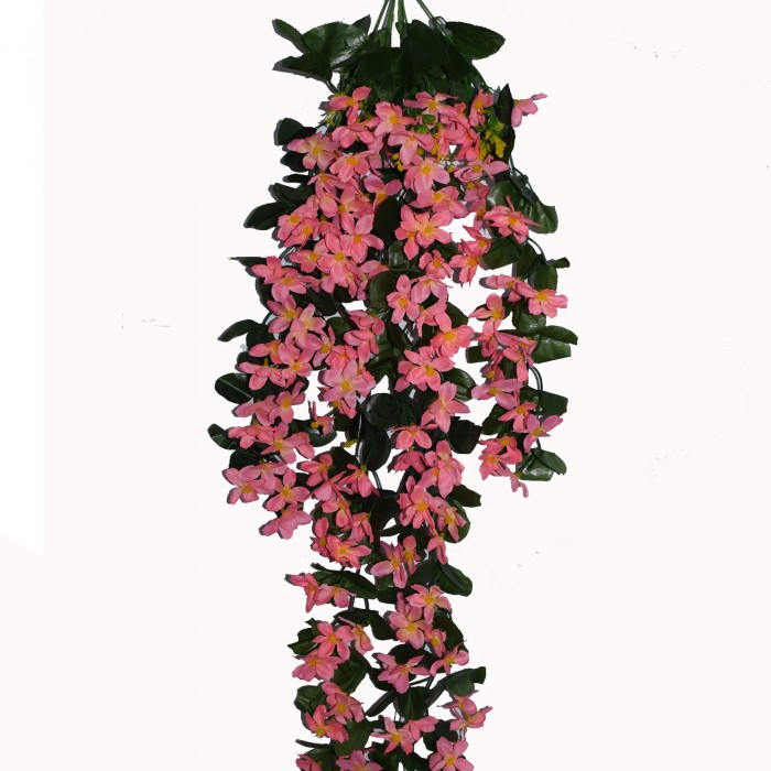 Buy Decorative Artificial Hanging Butterfly Orchid Flower Bush(100 Cm Long, Light/Pink) Online