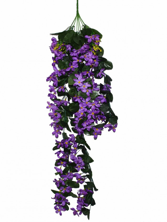 Buy Decorative Artificial Hanging Butterfly Orchid Flower Bush(100 Cm Long, Purple) Online