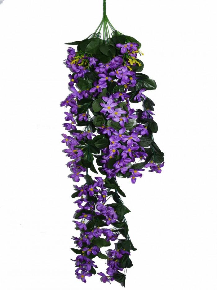 Buy Decorative Artificial Hanging Butterfly Orchid Flower Bush(100 Cm Long, Purple) Online