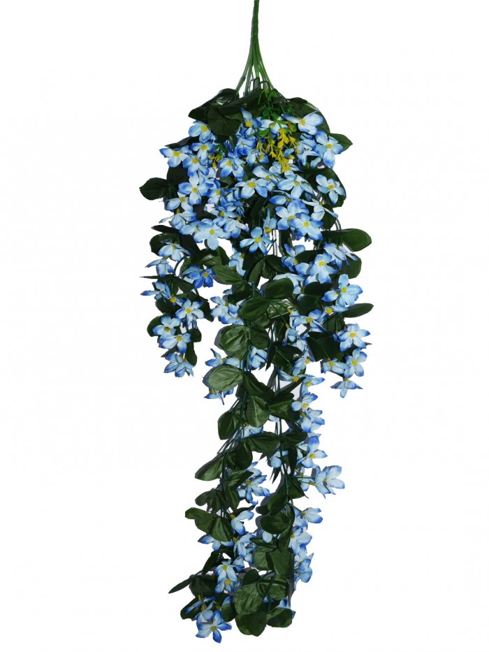 Buy Decorative Artificial Hanging Butterfly Orchid Flower Bush(100 Cm Long, Light/Blue) Online