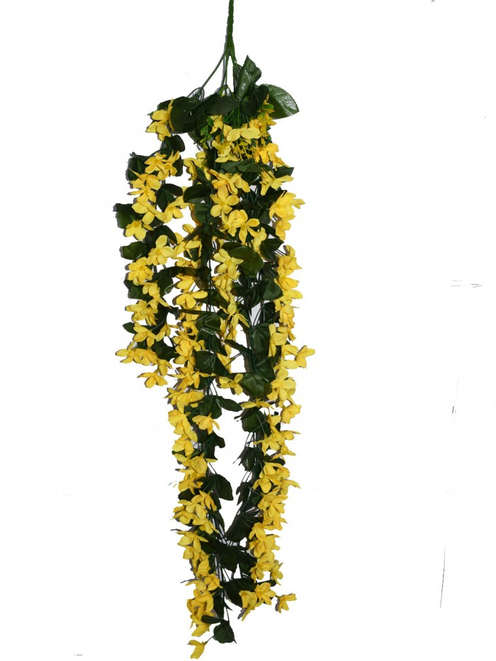Buy Decorative Artificial Hanging Butterfly Orchid Flower Bush(100 Cm Long, Yellow) Online