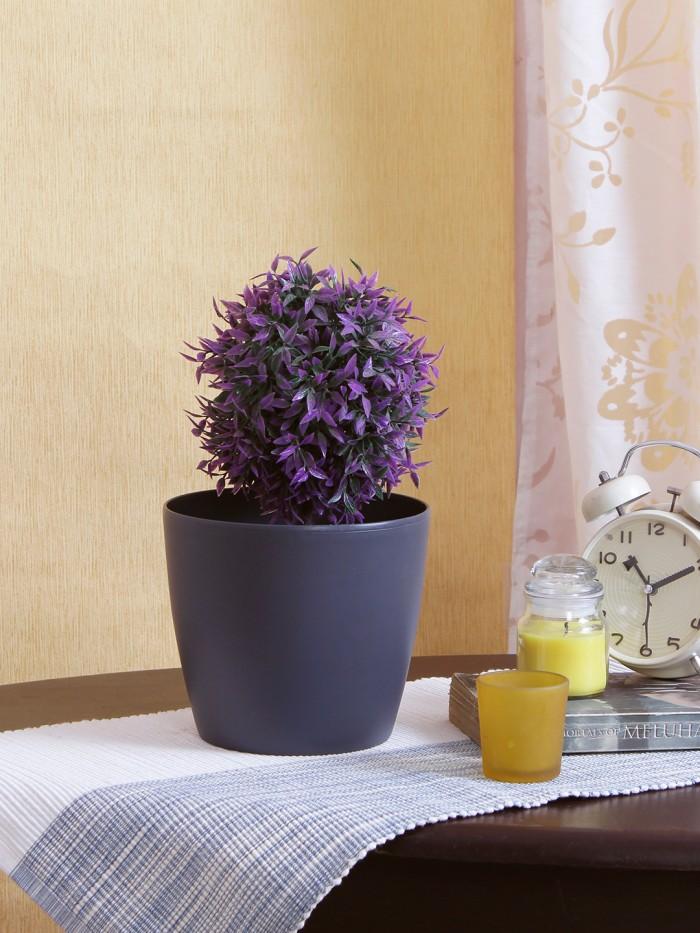 Buy Fourwalls PVC Planter (20 Cm, Grey, Set Of 2) Online