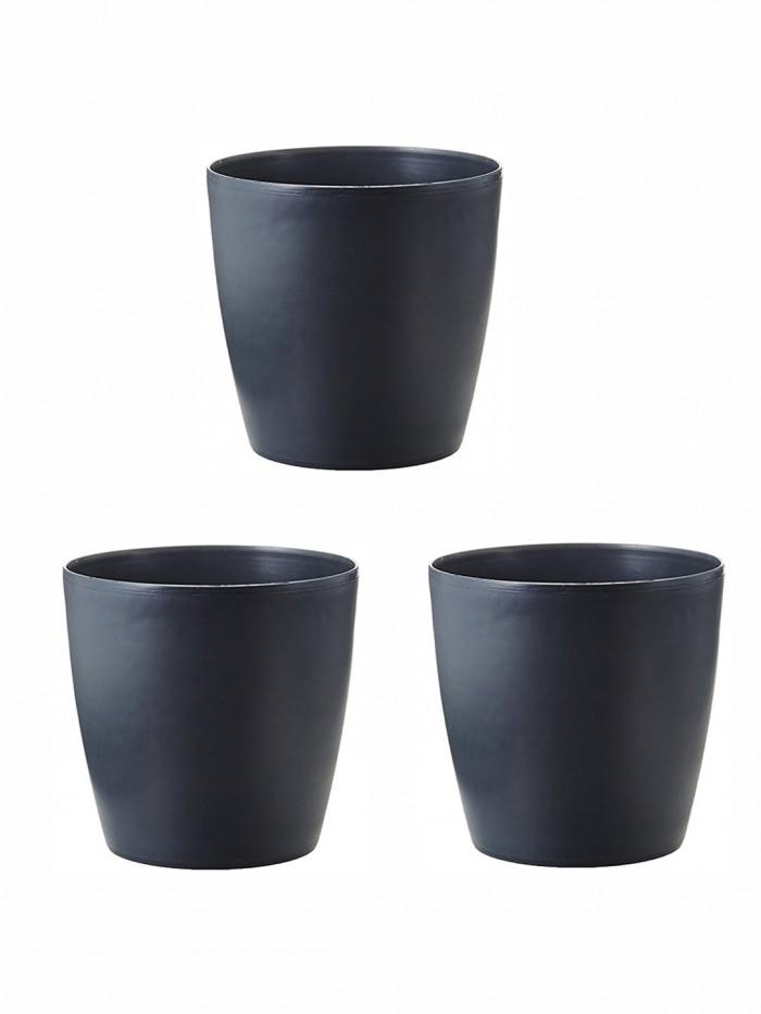 Buy Fourwalls PVC Planter (15 Cm, Brown, Set Of 3) Online