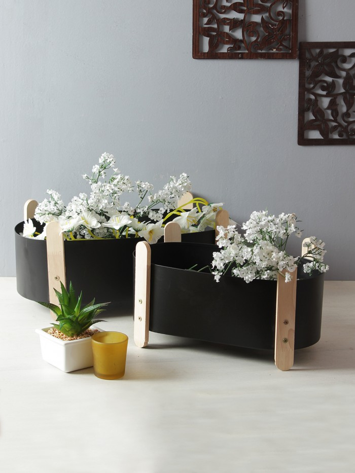 Buy Oval Iron Planter With Wood Stand Flower Pot For Outdoor Indoor Decoration Container (18 Cm Tall
