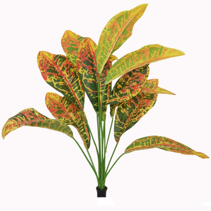Buy Decorative Artificial Croton Plant With Colourful Leaves (46 Cm Tall, 12 Heads) Online